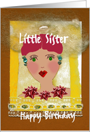 Little Sister, Happy Birthday, Fun and Whimsical card