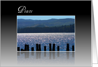 Peace Water Scene against Rolling Hills, Landscape Photograph, Blank Inside card