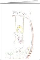 Girl sitting on swing holding doll, Thinking of you card
