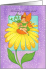 Birthday Wishes Sister Flower Fairy on Bright Yellow Flower card