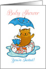 Summer Baby Shower Invitation with Cat in Flippers Holding Umbrella card