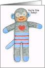 Sock Monkey Birthday You're One Today! card