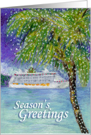 Christmas Cruise Ship Season's Greeting with Resort Lighted Palm Tree card