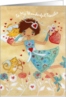 Happy Valentine's Day Teacher with Cupid Cats, Flowers, Hearts card