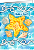 Nautical Rope, Sea Shells and Starfish Thank You card