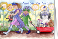 Children Dress Up with Pets Thank You card