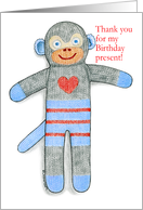 Sock Monkey Thank You for Present card