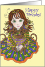 Girl with Party Cats Happy Birthday card