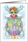 Happy Birthday Friend Masquerade Woman with Cats card