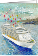 Cruise Ship with Birthday Balloons card