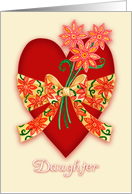 Daughter, Red Valentine Heart with Bow and Whimsical Flowers card