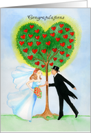 Congratulations Bride & Groom Red Hearts of Love Tree card