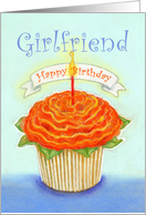 Girlfriend, Happy Birthday ,Orange Flower Cupcake with Candle card