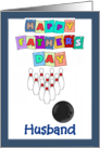 Happy Father's Day Husband - bowling, blue border card