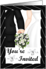 Wedding Invitation- Black Tux, white gown, white bouquet card