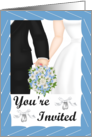 Wedding Invitation- Black Tux, white gown, blue bouquet card