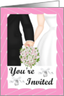 Wedding Invitation- Black Tux, white gown, pink bouquet card