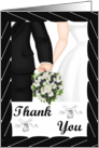 Thank you Card -Wedding- Black Tux, white gown, white bouquet card