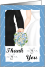 Thank you Card -Wedding- Black Tux, white gown, blue bouquet card