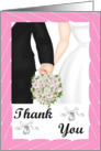 Thank you Card -Wedding- Black Tux, white gown, pink bouquet card