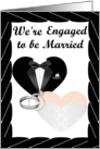 We're Engaged- caucasian- Silver Rings, Tux and Gown card