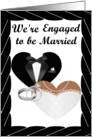 We're Engaged- african american- Silver Rings, Tux and Gown card