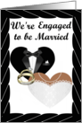 We're Engaged- african american- Gold Rings, Tux and Gown card