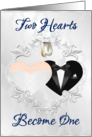 Wedding Day (caucasion)- Two hearts Become One- Gown and Tux card