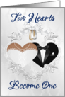 Wedding Day (African American)- Two hearts Become One- Gown and Tux card