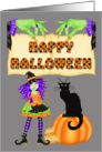 Happy Halloween - Witch, black cat, pumpkin, witch hands card