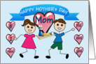 Happy Mother's Day Mom (Stick Children with breakfast tray) card