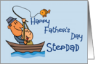 Happy Father's Day Stepdad (Man & boy in Fishing Boat) card