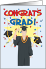 Congrats Grad - Male in Graduation Gown & Cap card