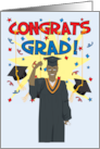 Congrats Grad - (Male- African American) in Graduation Gown & Cap card