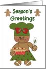 Season's Greetings Christmas Card - Gingerbread Baker with Pie card
