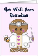 Get Well Soon Grandma - Doctor in White coat with pink bg card