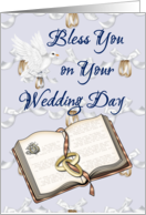 Wedding Day - Bless you - Bible - Dove with rings card
