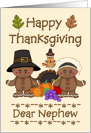 Happy Thanksgiving Nephew - Pilgrims, Cornucopia, Turkey card