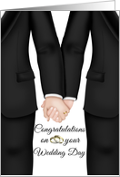 Wedding Day Gay Couple- Congratulations - Two Men holding hands card