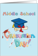 Middle School Graduation Day - Cap and Diploma card