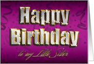 Bling Happy Birthday - Little Sister card