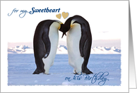 Birthday, for Sweetheart (Male), boyfriend, Penguins, hearts card