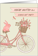 Invitation, School's Out Party, Pink Bicycle, Rabbit, Flower Basket card