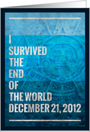 Ancient Mayan Apocalypse Prophecy, Blue Mask Greeting Card- End of the World card