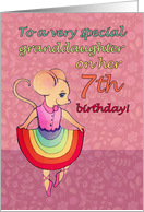 Happy 7th Birthday, special granddaughter, cute mouse, rainbow skirt card