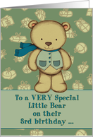 Happy Birthday to a VERY Special Little Bear, 3rd birthday, teddy. card