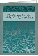Celebration of life, memorial invitation, flowers, butterflies. card