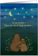Father's Day, for brother - Bears, landscape, stars, moon, drawing. card