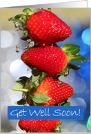 Get Well Soon, fresh strawberries macro photograph, red, blue, green card