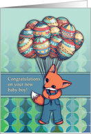 Congratulations on your new baby boy, cute fox with balloons. card